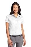Women's Short Sleeve Easy Care Shirt White with Light Stone Thumbnail