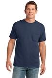 5.4-oz 100 Cotton Pocket T-shirt Navy Thumbnail