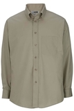Men's Button Down Poplin Shirt LS Tan Thumbnail