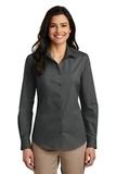 Women's Long Sleeve Carefree Poplin Shirt Graphite Thumbnail