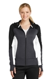 Women's Tech Fleece Colorblock FullZip Hooded Jacket Black with Graphite Heather and White Thumbnail