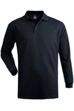 Unisex Long Sleeve All Cotton Pique Polo Navy Thumbnail