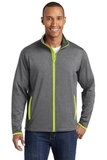Sport-Wick Stretch Contrast Full-Zip Jacket Charcoal Grey Heather with Charge Green Thumbnail