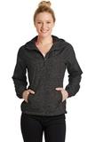 Women's Heather Colorblock Raglan Hooded Wind Jacket Black Heather with Black Thumbnail