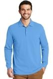 EZ-Cotton Long Sleeve Polo Azure Blue Thumbnail