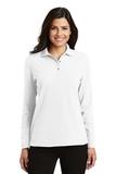 Women's Silk Touch Long Sleeve Polo Shirt White Thumbnail