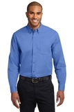 Extended Size Long Sleeve Easy Care Shirt Ultramarine Blue Thumbnail