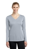 Women's Long Sleeve V-neck Competitor Tee Silver Thumbnail