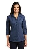 Women's 3/4Sleeve Micro Tattersall Easy Care Shirt Navy with Heritage Blue Thumbnail