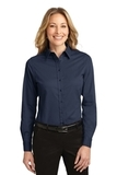 Women's Long Sleeve Easy Care Shirt Navy with Light Stone Thumbnail