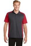 Colorblock Micropique Sport-Wick Polo Iron Grey with True Red Thumbnail