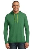 100 Ring Spun Cotton Long Sleeve Hooded T-shirt Heather Green with Neon Yellow Thumbnail