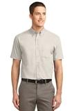 Tall Short Sleeve Easy Care Shirt Light Stone with Classic Navy Thumbnail