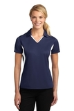 Women's Side Blocked Micropique Polo Shirt True Navy with White Thumbnail