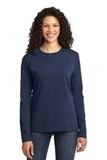 Women's Long Sleeve 5.4-oz 100 Cotton T-shirt Navy Thumbnail