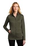 Ladies Collective Striated Fleece Jacket Deep Olive Heather Thumbnail