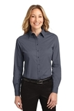 Women's Long Sleeve Easy Care Shirt Steel Grey with Light Stone Thumbnail