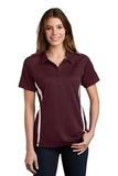 Women's Micro-mesh Colorblock Polo Maroon with White Thumbnail