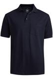 Unisex Short Sleeve All Cotton Pocket Pique Polo Navy Thumbnail