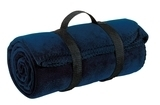 Value Fleece Blanket With Strap Navy Thumbnail
