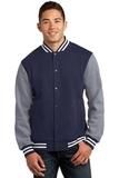 Fleece Letterman Jacket True Navy with Vintage Heather Thumbnail