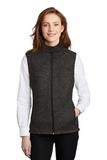 Women's Sweater Fleece Vest Black Heather Thumbnail