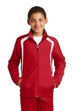 Youth Colorblock Raglan Jacket True Red with White Thumbnail