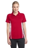 Women's Micro-mesh Colorblock Polo True Red with White Thumbnail