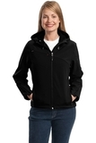 Women's Textured Hooded Soft Shell Jacket Black with Engine Red Thumbnail