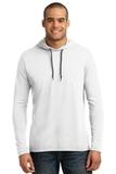 100 Ring Spun Cotton Long Sleeve Hooded T-shirt White with Dark Grey Thumbnail