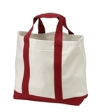 2-tone Shopping Tote Natural with Red Thumbnail