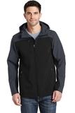 Hooded Core Soft Shell Jacket Black with Battleship Grey Thumbnail