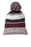Pom Pom Team Beanie Maroon with Black and White Thumbnail