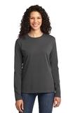 Women's Long Sleeve 5.4-oz 100 Cotton T-shirt Charcoal Thumbnail