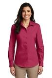 Women's Long Sleeve Carefree Poplin Shirt Pink Azalea Thumbnail