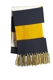 Spectator Scarf True Navy with Gold and White Thumbnail