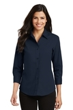 Women's 3/4-sleeve Easy Care Shirt Navy Thumbnail