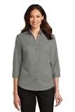 Women's 3/4Sleeve SuperPro Twill Shirt Monument Grey Thumbnail