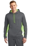 Sport-wick Fleece Colorblock Hooded Pullover Dark Smoke Grey with Lime Shock Thumbnail