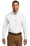 Tall Long Sleeve Carefree Poplin Shirt White Thumbnail