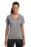 Women's Heather Colorblock Contender V-neck Tee Vintage Heather with Carolina Blue Thumbnail