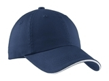 Sandwich Bill Cap With Striped Closure Ensign Blue with White Thumbnail