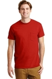 Ultra Blend 50/50 Cotton / Poly T-shirt With Pocket Red Thumbnail