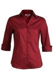 V-neck 3/4 Sleeve Tailored Blouse Burgundy Thumbnail
