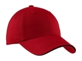 Sandwich Bill Cap With Striped Closure Red with Black Thumbnail