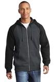 Raglan Colorblock Full-Zip Hooded Fleece Jacket Graphite Heather with Black Thumbnail