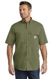Carhartt Force Ridgefield Solid Short Sleeve Shirt Burnt Olive Thumbnail