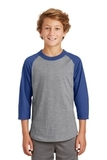 Youth Colorblock Raglan Jersey Heather Grey with Royal Thumbnail