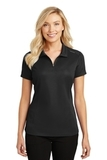 Women's Pinpoint Mesh Zip Polo Black Thumbnail