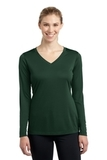 Women's Long Sleeve V-neck Competitor Tee Forest Green Thumbnail